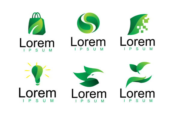 Download Free Pack Of Modern Green Leaf Logo Vector Graphic By Aksa Inov008 for Cricut Explore, Silhouette and other cutting machines.