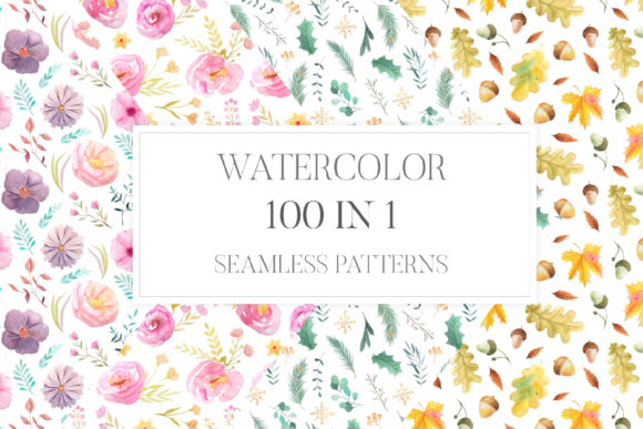100 in 1 Watercolor Patterns Set Grafik Muster von Larysa Zabrotskaya