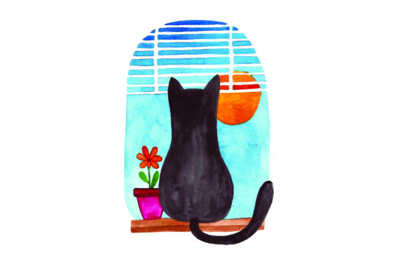 Cat Looking out Window Katzen Plotterdatei von Creative Fabrica Crafts