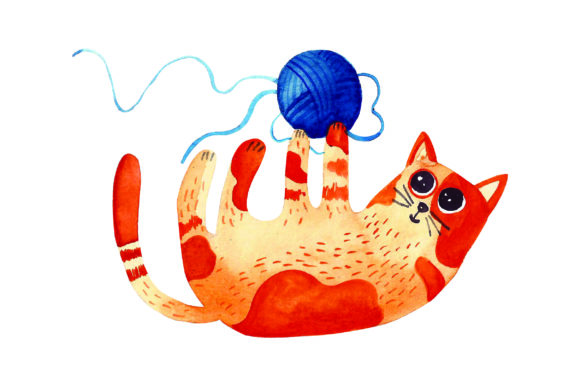 Cat Playing with Ball of Yarn Cats Craft Cut File By Creative Fabrica Crafts