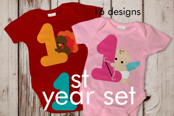 Baby's Year of Firsts Set of 16 Graphic Crafts By DesignedByGeeks - Image 1