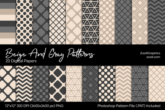 Beige and Grey Digital Papers Graphic Patterns By ZoollGraphics