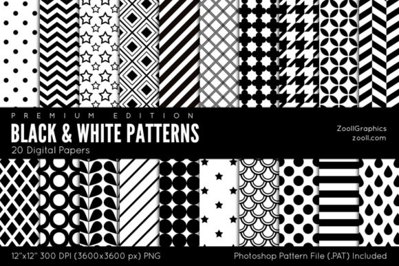 Download Free Black And White Digital Papers Graphic By Zoollgraphics for Cricut Explore, Silhouette and other cutting machines.