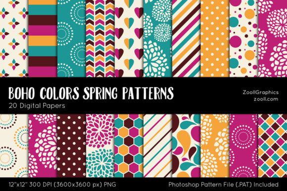 Download Free Boho Colors Spring Digital Papers Grafik Von Zoollgraphics for Cricut Explore, Silhouette and other cutting machines.