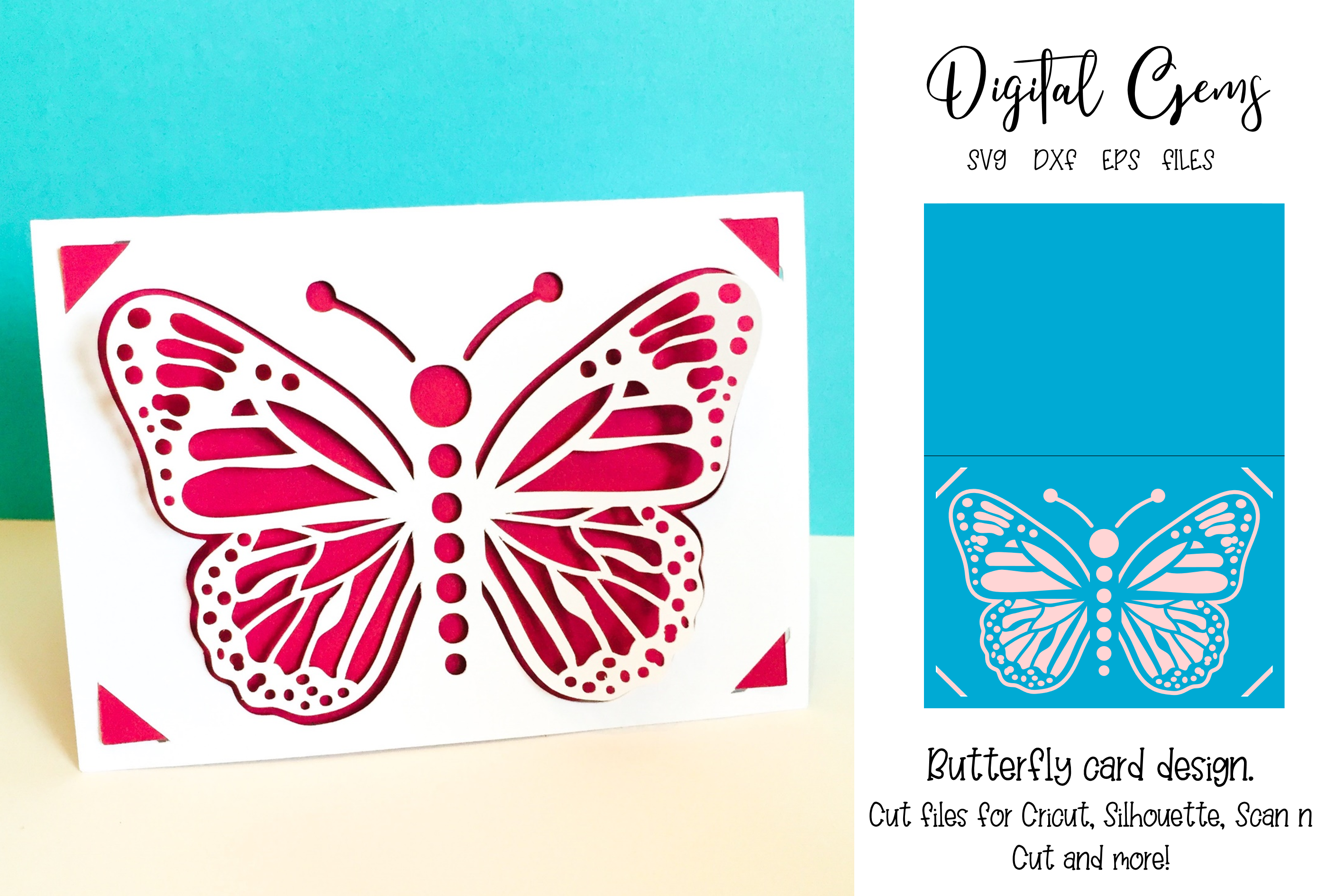 Download Free Butterfly Card Design Graphic By Digital Gems Creative Fabrica for Cricut Explore, Silhouette and other cutting machines.