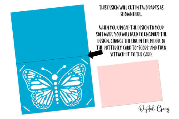 Butterfly Card Design Graphic 3D SVG By Digital Gems - Image 2