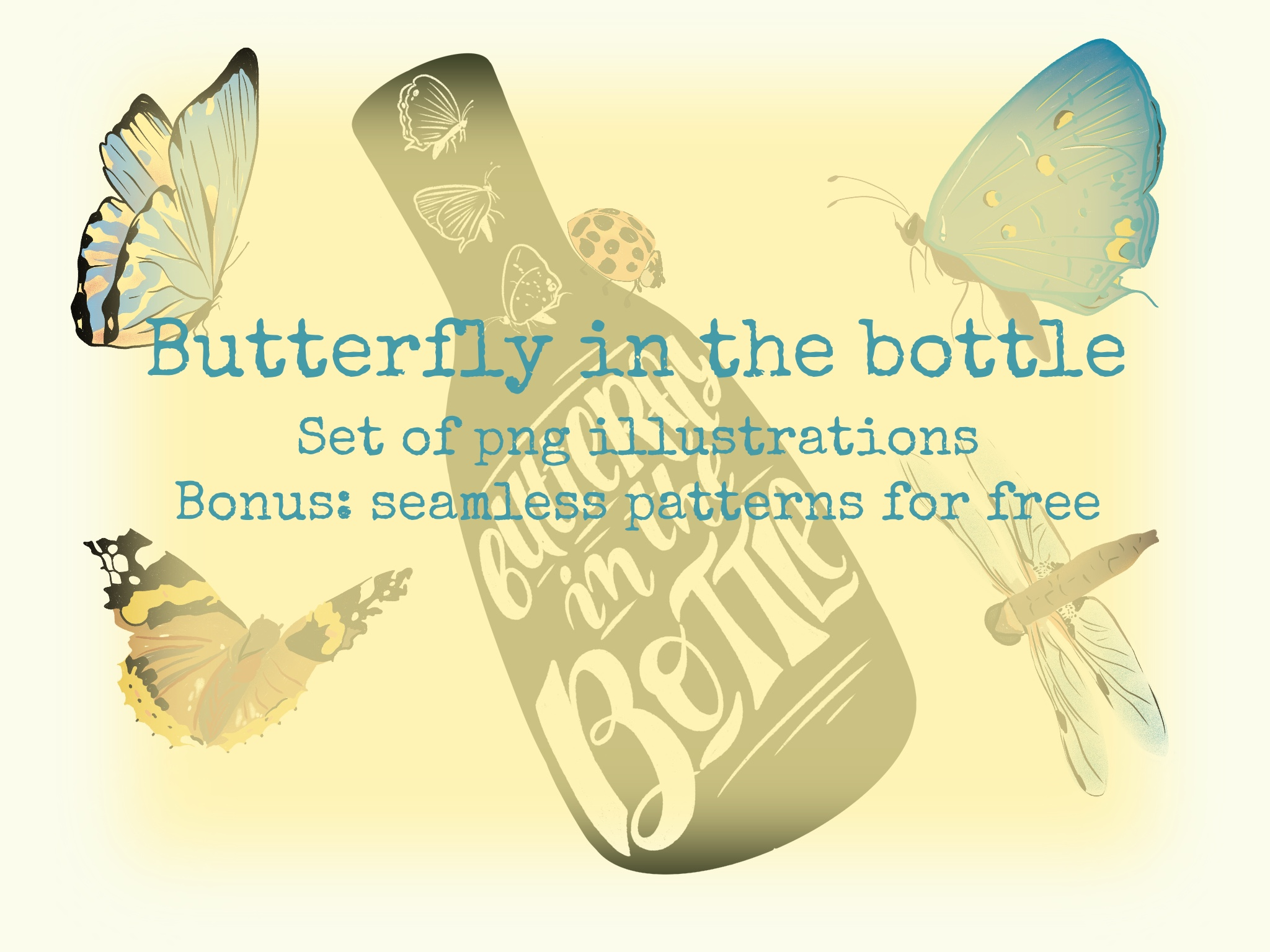 Download Free Butterfly In The Bottle 20 Images Graphic By Shalaeva for Cricut Explore, Silhouette and other cutting machines.