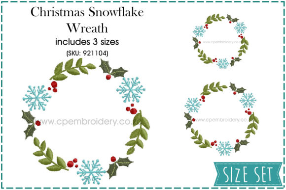 Christmas Snowflake Wreath Christmas Embroidery Design By CPEmbroidery Designs - Image 1