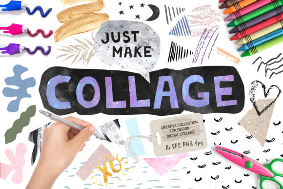 Download Free Collage Elements Bundle Graphic By Larysa Zabrotskaya Creative for Cricut Explore, Silhouette and other cutting machines.