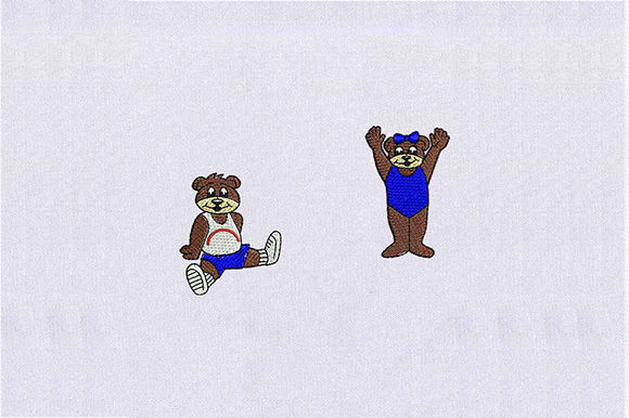 Cute Bear Couple Teddy Bears Embroidery Design By DigitEMB