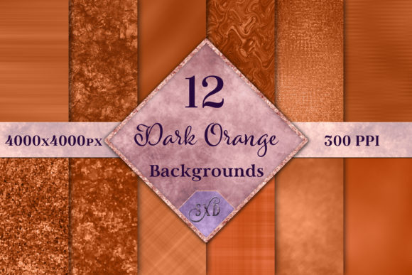 Print on Demand: Dark Orange Backgrounds - 12 Image Set Graphic Backgrounds By SapphireXDesigns