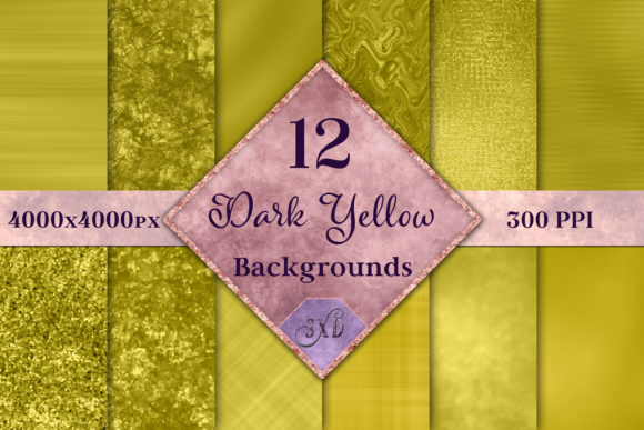 Print on Demand: Dark Yellow Backgrounds - 12 Image Set Graphic Backgrounds By SapphireXDesigns