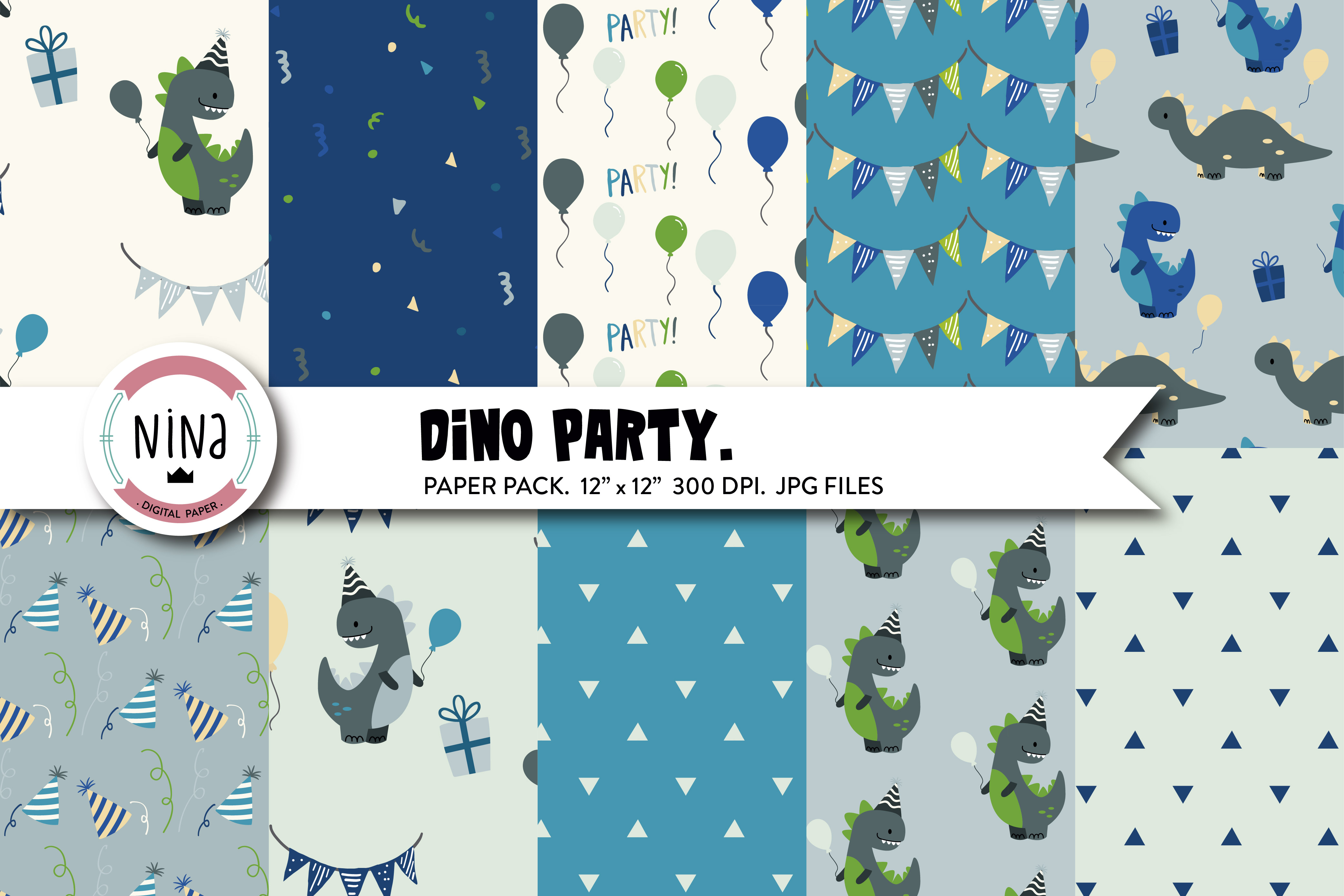 Download Free Dino Party Digital Paper Graphic By Nina Prints Creative Fabrica for Cricut Explore, Silhouette and other cutting machines.