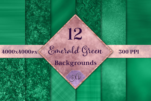 Print on Demand: Emerald Green Backgrounds - 12 Image Set Graphic Backgrounds By SapphireXDesigns