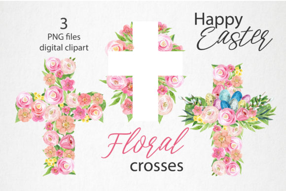 Floral Easter Cross Watercolor Graphic Illustrations By lena-dorosh