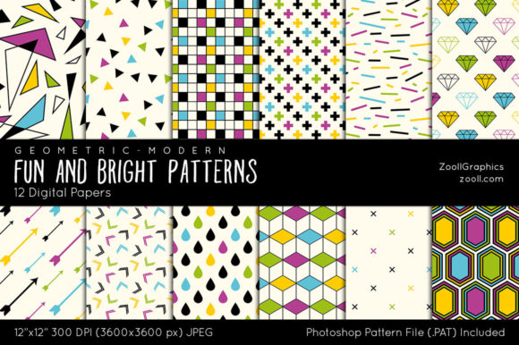 Fun and Bright Digital Papers Graphic Patterns By ZoollGraphics