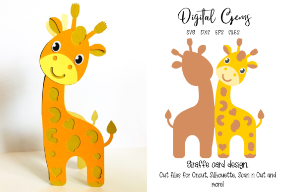Download Free Giraffe Card Design Graphic By Digital Gems Creative Fabrica for Cricut Explore, Silhouette and other cutting machines.