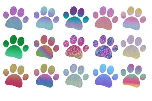Download Free Glitter Dog Paw Print Clipart Stickers Graphic By Am Digital Designs Creative Fabrica for Cricut Explore, Silhouette and other cutting machines.