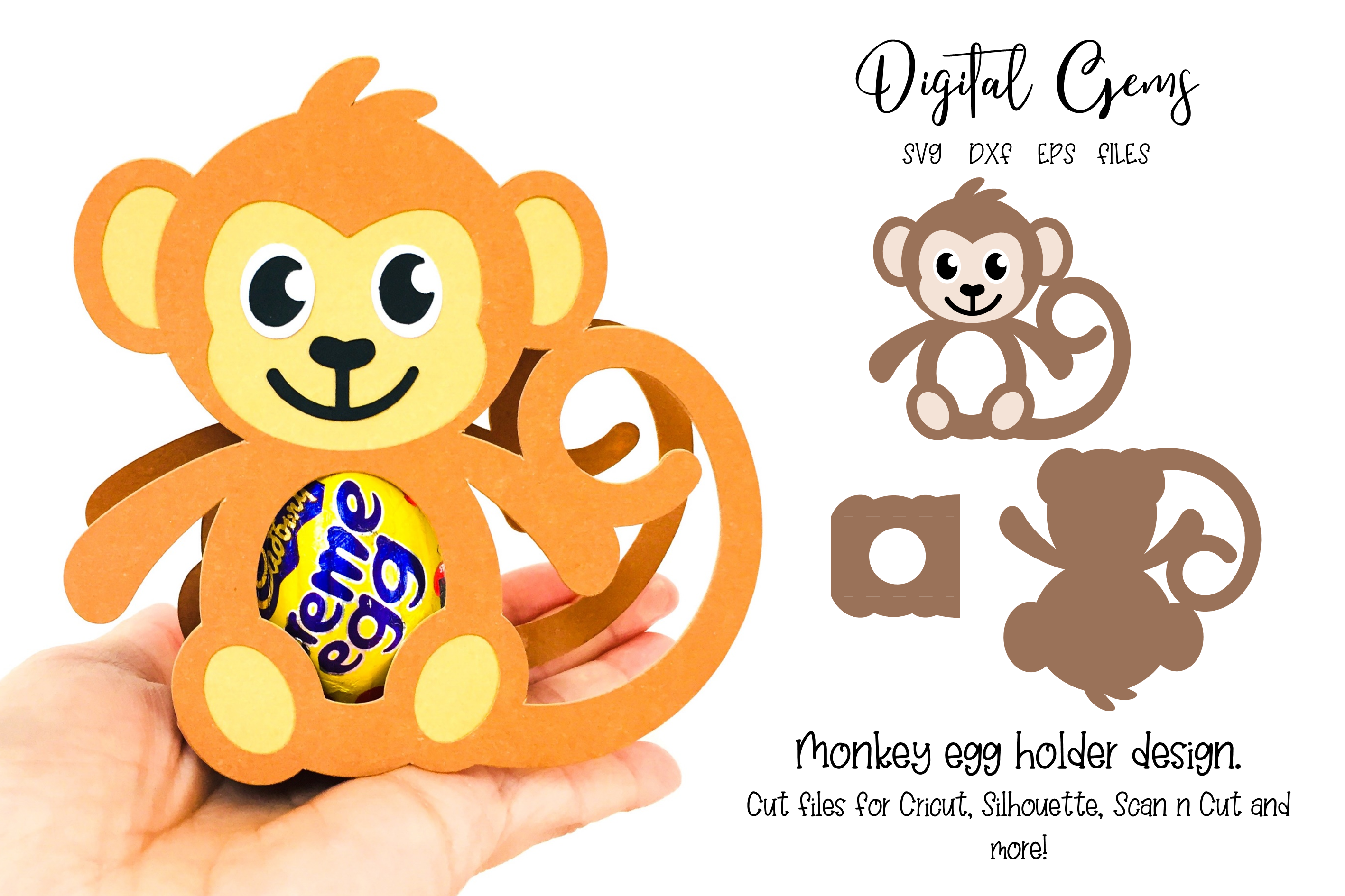 Download Free Monkey Egg Holder Design Graphic By Digital Gems Creative Fabrica for Cricut Explore, Silhouette and other cutting machines.
