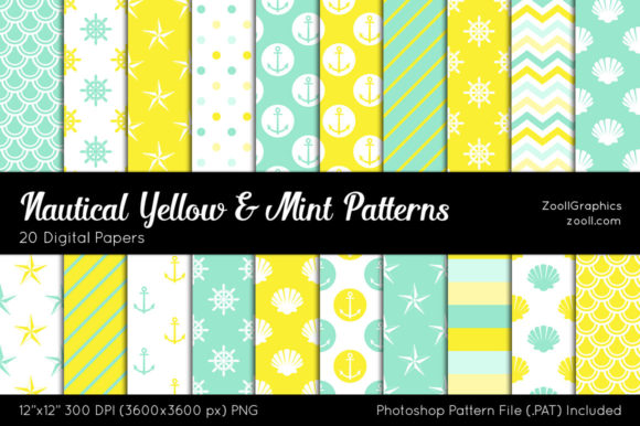Nautical Yellow and Mint Digital Papers Gráfico Moldes Por ZoollGraphics