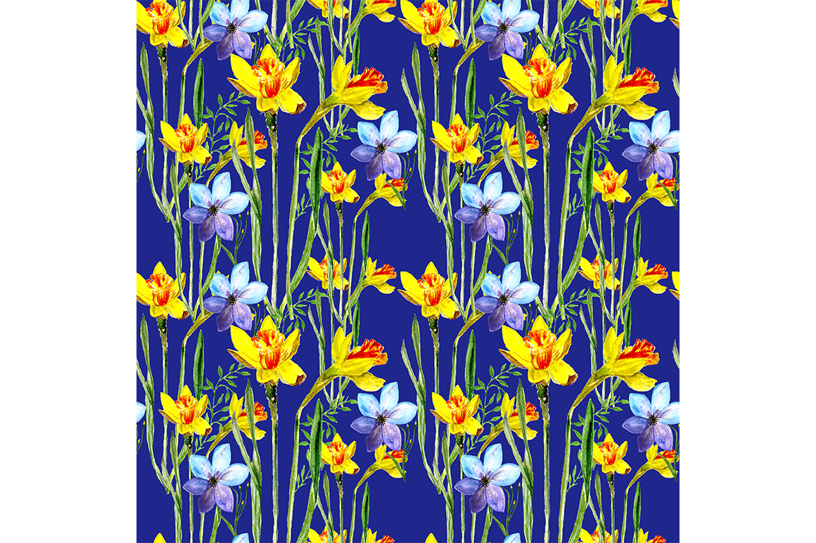 Download Free Pattern Spring Flowers Graphic By Kakva Creative Fabrica for Cricut Explore, Silhouette and other cutting machines.