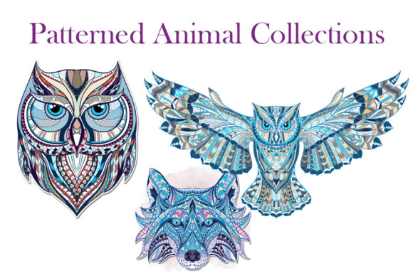 Patterned Animal Collections Grafik Illustrationen von rideover6