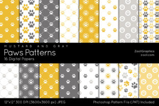 Paws Patterns Digital Papers Graphic Patterns By ZoollGraphics