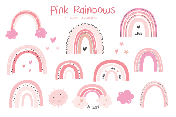 Print on Demand: Pink Rainbows Graphic Illustrations By poppymoondesign - Image 1