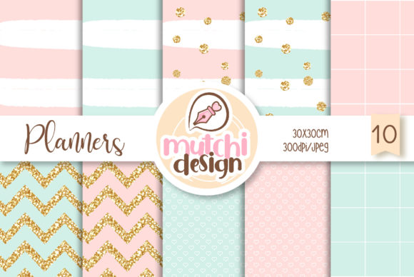 Print on Demand: Pretty Planners Digital Papers Graphic Backgrounds By Mutchi Design
