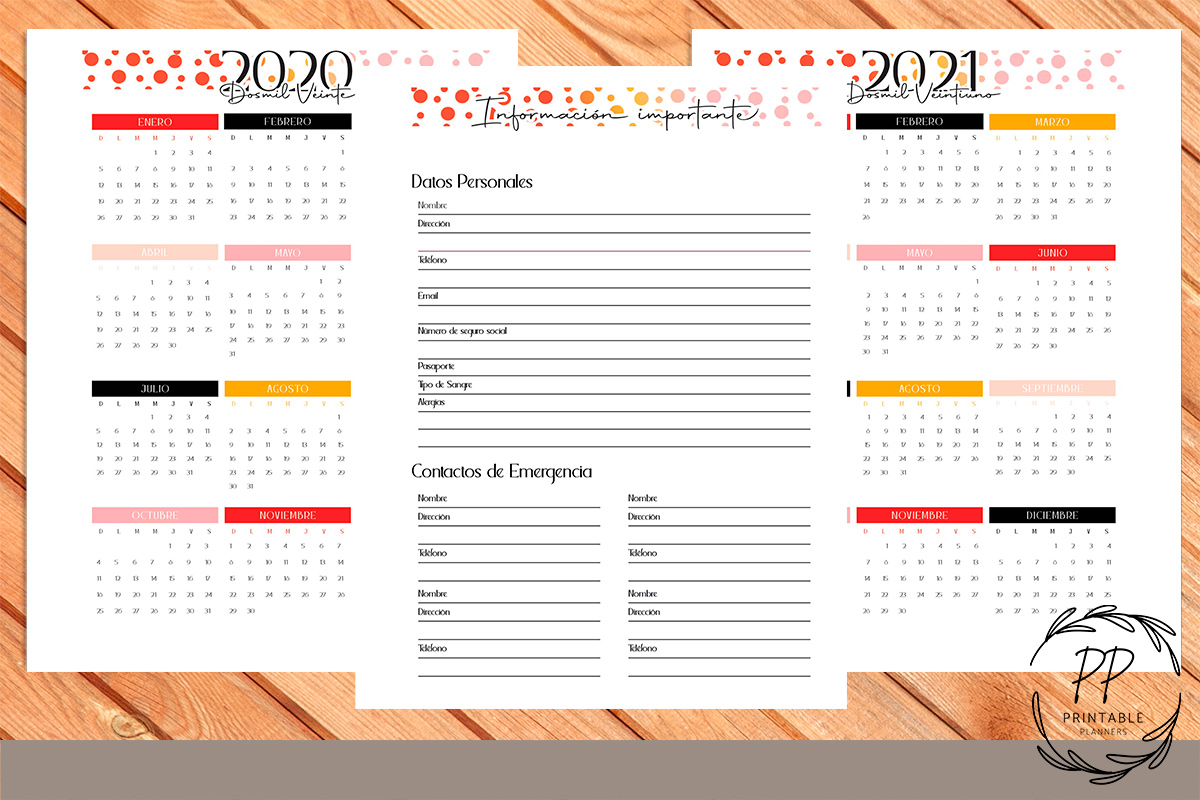 Download Free Printable Planner 2020 2021 12 Months Graphic By Printable for Cricut Explore, Silhouette and other cutting machines.