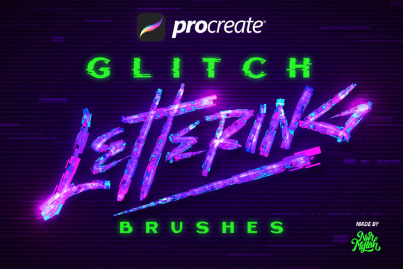 Procreate Glitch Lettering Brushes Graphic Free Download