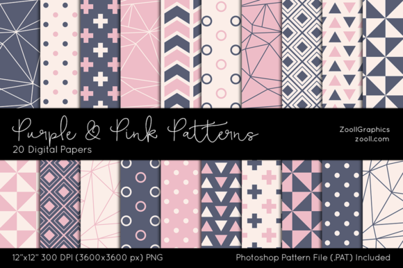 Purple and Pink Digital Papers Graphic Patterns By ZoollGraphics