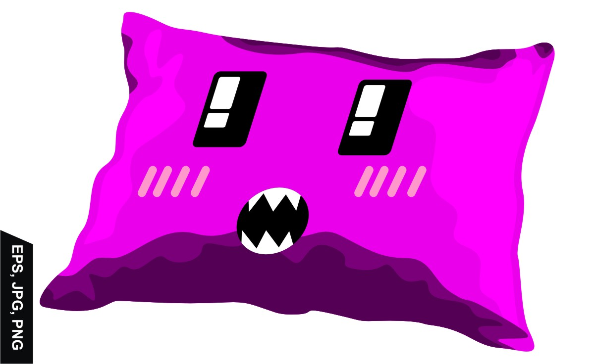 Download Free Purple Vector Pillow With Emoji Design Graphic By Arief Sapta for Cricut Explore, Silhouette and other cutting machines.