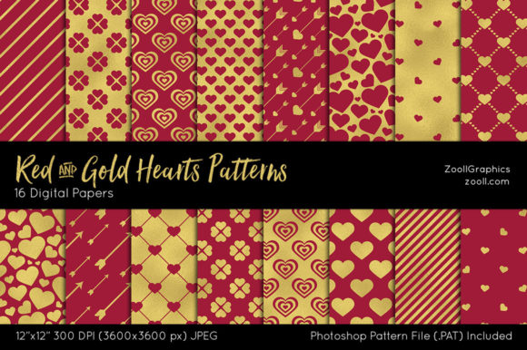 Red and Gold Hearts Digital Papers Graphic Patterns By ZoollGraphics