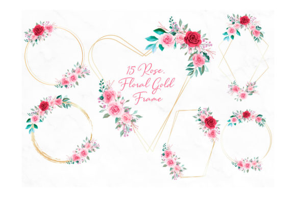 Download Free Rose Floral Gold Frame Clipart Graphic By Designitfor Creative Fabrica for Cricut Explore, Silhouette and other cutting machines.