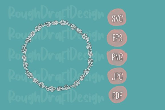 Print on Demand: Rose Monoline Wreath Cut File Graphic Objects By RoughDraftDesign
