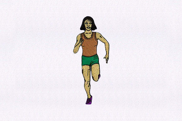 Running Woman Sports Embroidery Design By DigitEMB