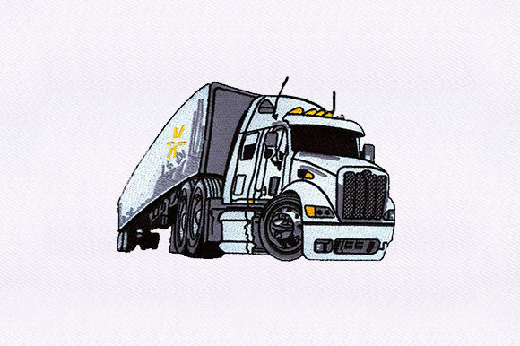 Semi Tractor Trailer Transportation Embroidery Design By DigitEMB