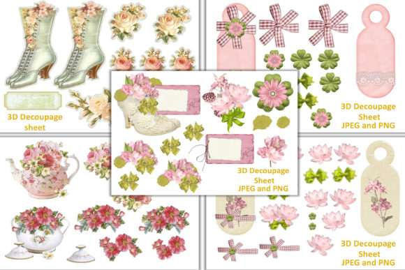 Print on Demand: Shabby Chic Clipart and Decoupage Bundle Graphic Illustrations By The Paper Princess - Image 1