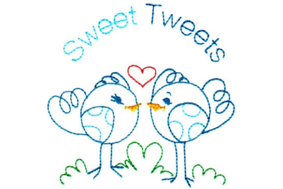 Sweet Tweets Vögel Stickdesign von Sue O'Very Designs