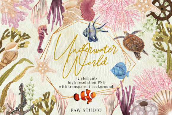 Download Free Underwater Bundle Marine Animal Plants Graphic By Pawstudio for Cricut Explore, Silhouette and other cutting machines.