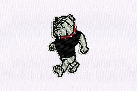 Walking Bulldog Dogs Embroidery Design By DigitEMB