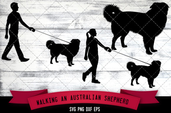 Walking a Australian Shepherd Dog Graphic Crafts By thesilhouettequeenshop