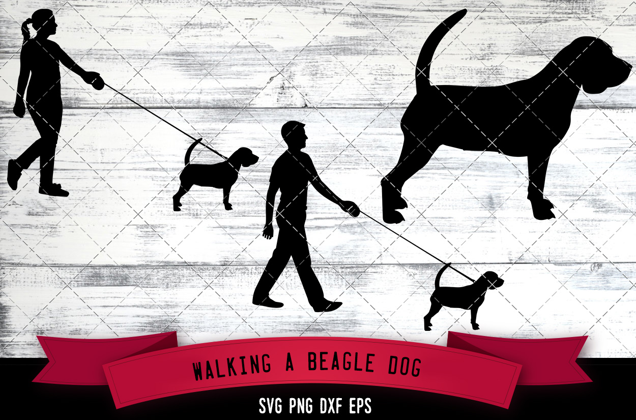 Download Free Walking A Beagle Dog Silhouette Vector Graphic By for Cricut Explore, Silhouette and other cutting machines.