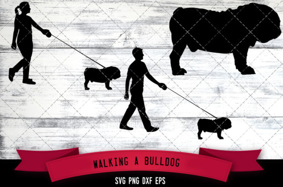 Walking a Bull Dog Silhouette Vector Graphic Crafts By thesilhouettequeenshop