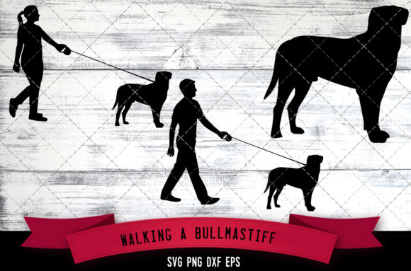Download Free Walking A Bullmastiff Dog Silhouette Vec Graphic By for Cricut Explore, Silhouette and other cutting machines.