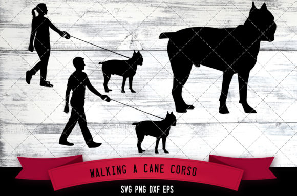 Download Free Walking A Cane Corso Dog Silhouette Vect Graphic By for Cricut Explore, Silhouette and other cutting machines.