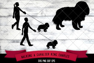 Download Free Walking A Cavalier King Charles Spaniel Graphic By for Cricut Explore, Silhouette and other cutting machines.