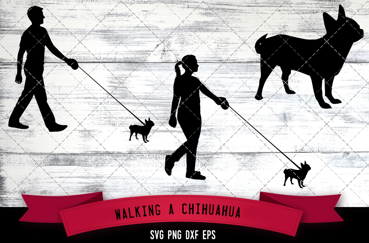 Download Free Walking A Chihuahua Dog Silhouette Graphic By for Cricut Explore, Silhouette and other cutting machines.