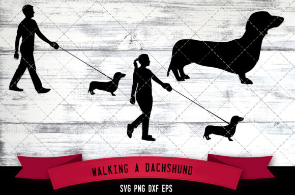 Walking a Dachshund  Dog Silhouette Graphic Crafts By thesilhouettequeenshop